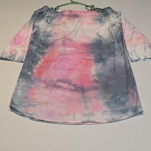 Tye-dye pink and black minidress